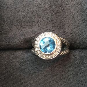 David Yurman Cerise Blue Topaz Ring w/ Box